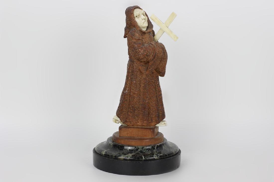 2 19thc Fantastic Carved Wood Figures of Monks - 2