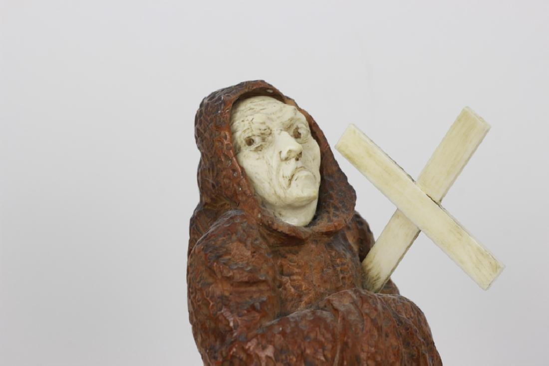 2 19thc Fantastic Carved Wood Figures of Monks - 3