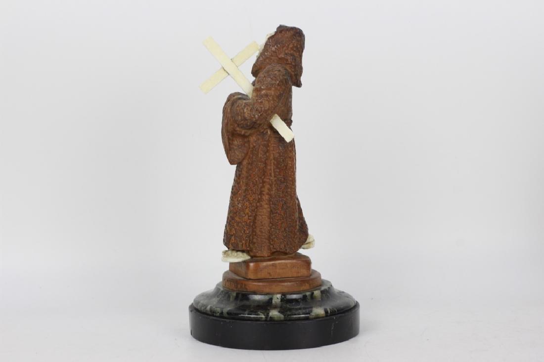 2 19thc Fantastic Carved Wood Figures of Monks - 5