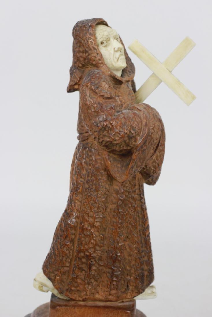2 19thc Fantastic Carved Wood Figures of Monks - 6