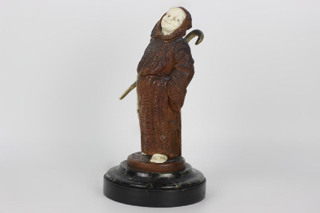 2 19thc Fantastic Carved Wood Figures of Monks - 7