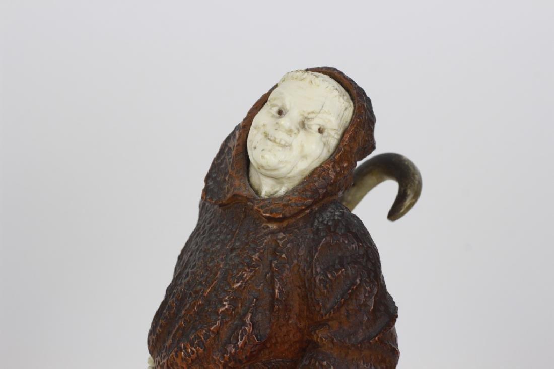 2 19thc Fantastic Carved Wood Figures of Monks - 8