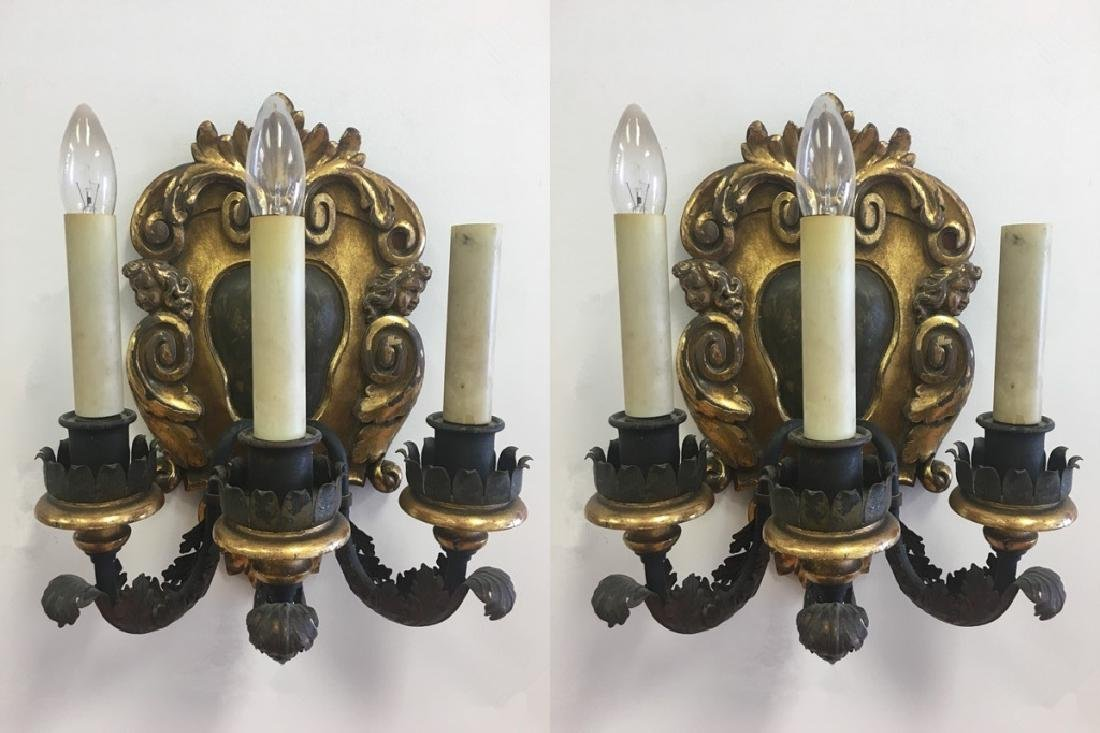 Late19thc Pair Italian Carved Wood Figural Sconces