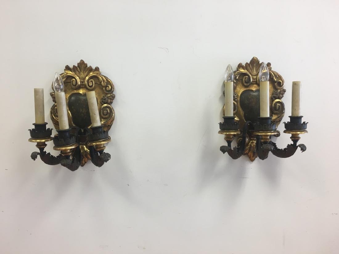 Late19thc Pair Italian Carved Wood Figural Sconces - 5