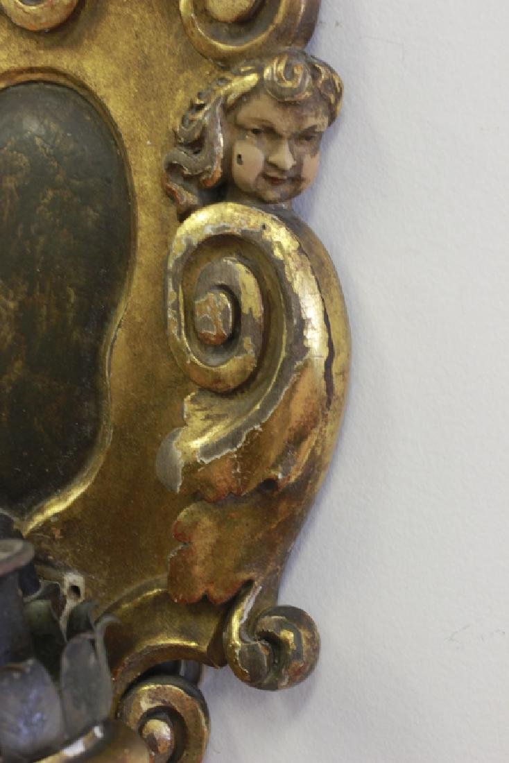 Late19thc Pair Italian Carved Wood Figural Sconces - 6