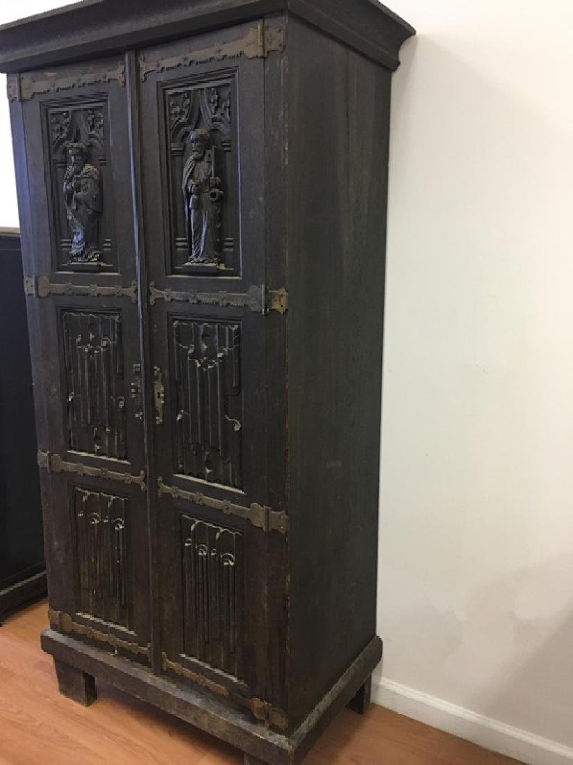 Very Old Large German Carved Wood Armoire - 10