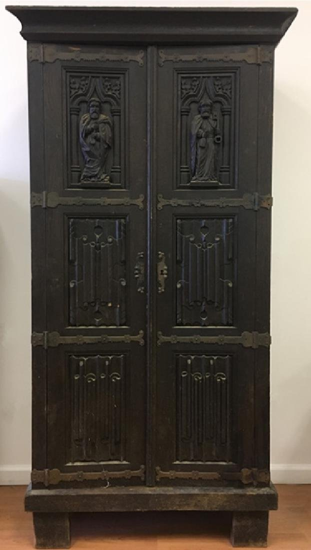 Very Old Large German Carved Wood Armoire