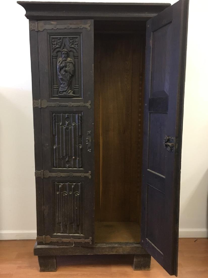Very Old Large German Carved Wood Armoire - 2