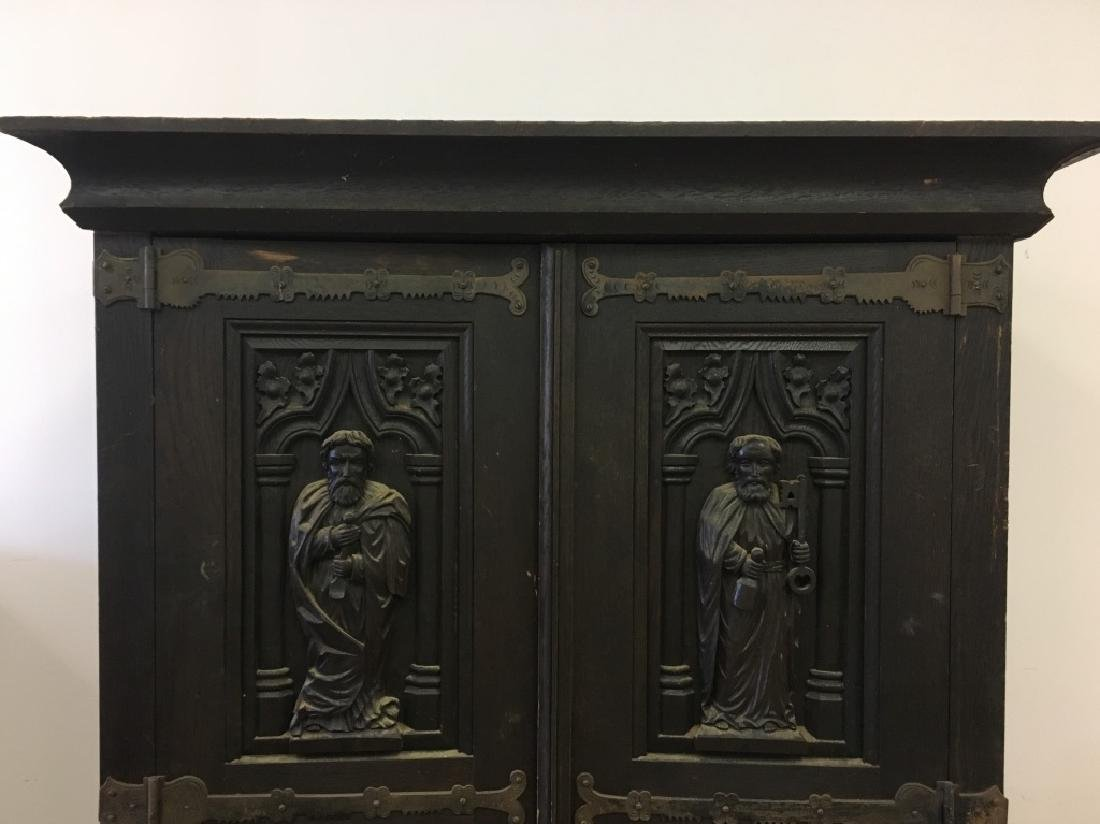 Very Old Large German Carved Wood Armoire - 9