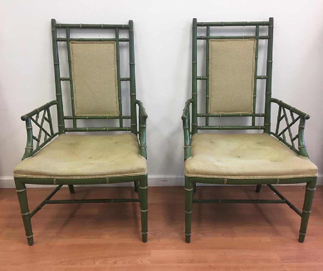 Pair of Faux Bamboo Open Arm Chairs