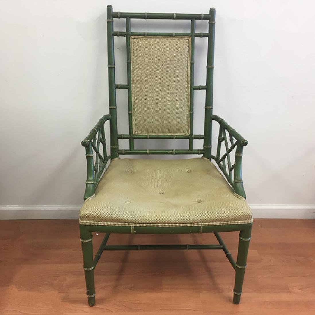 Pair of Faux Bamboo Open Arm Chairs - 2