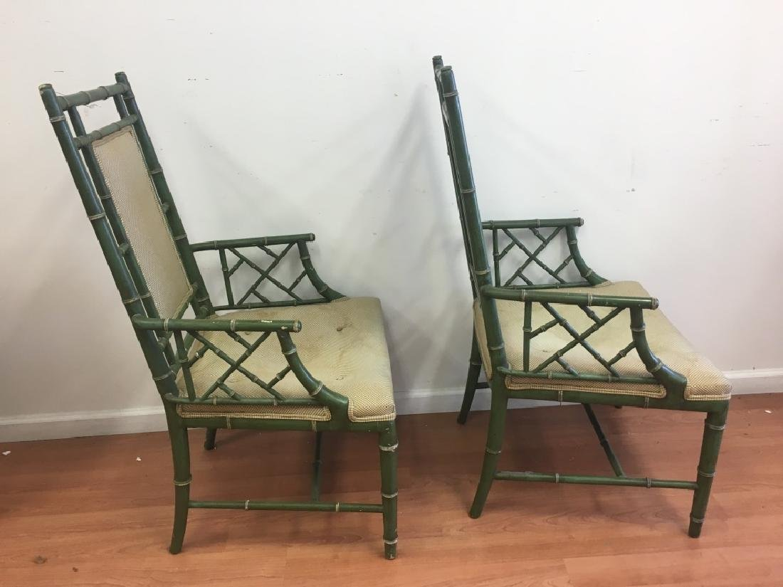 Pair of Faux Bamboo Open Arm Chairs - 4
