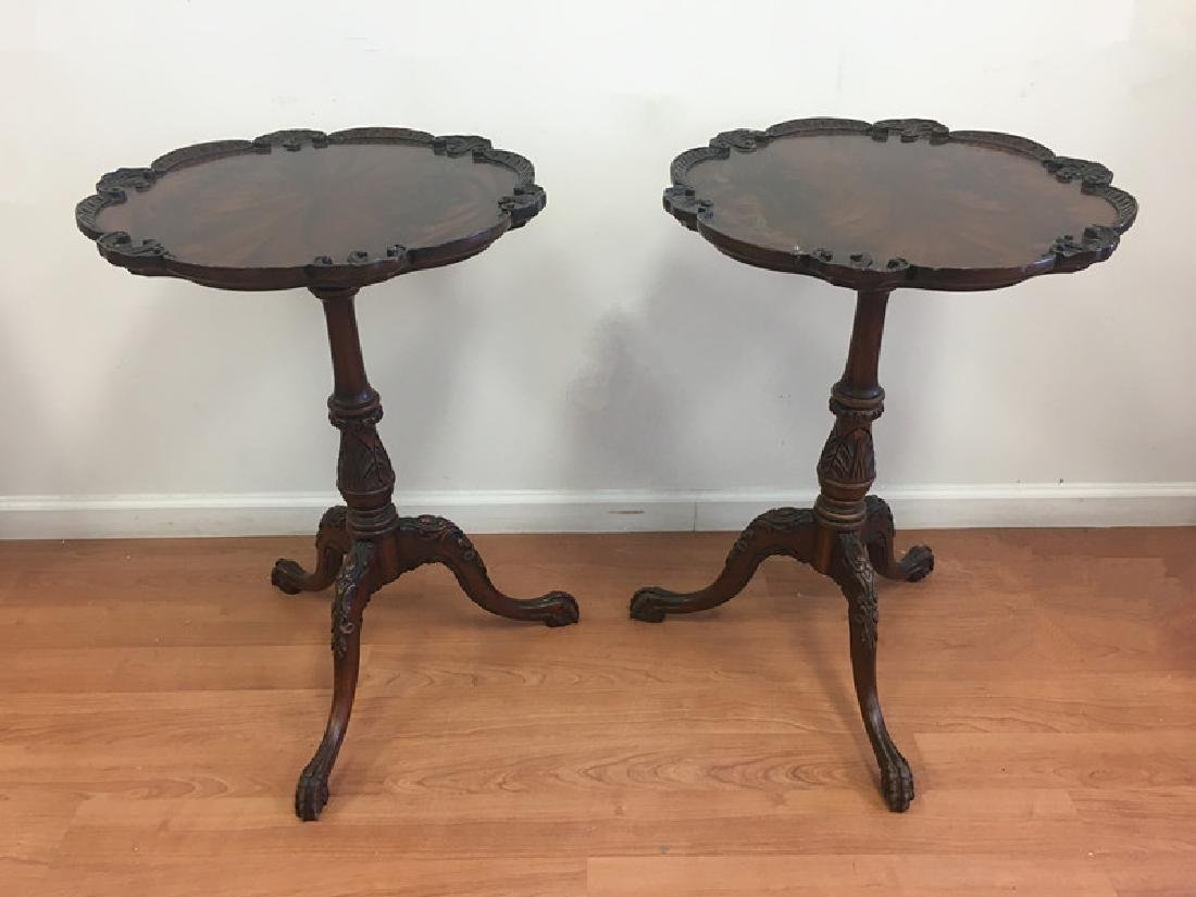 Pair of Mahogany Pie Crust End Tables