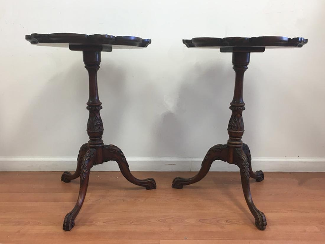 Pair of Mahogany Pie Crust End Tables - 2