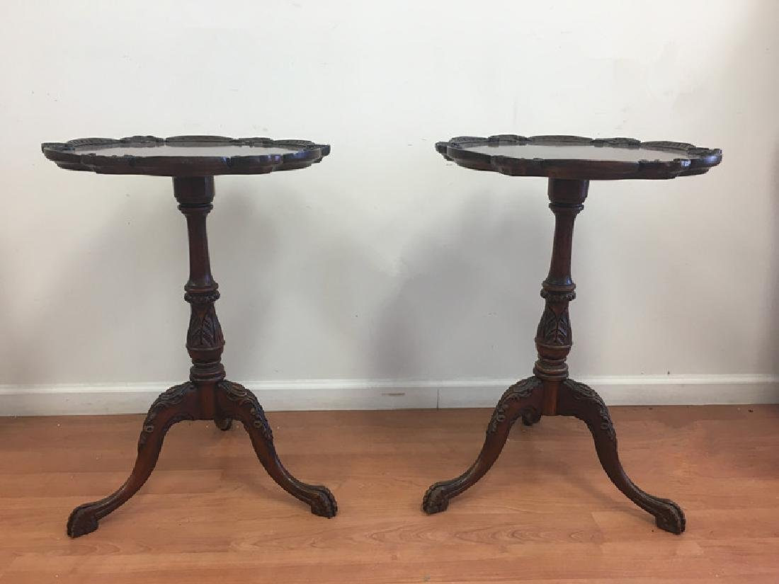 Pair of Mahogany Pie Crust End Tables - 6