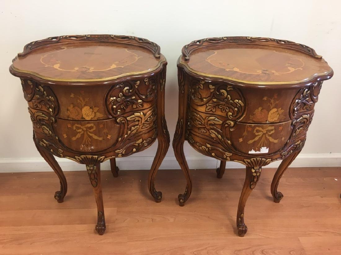 Pair of Parquetry Night Stands