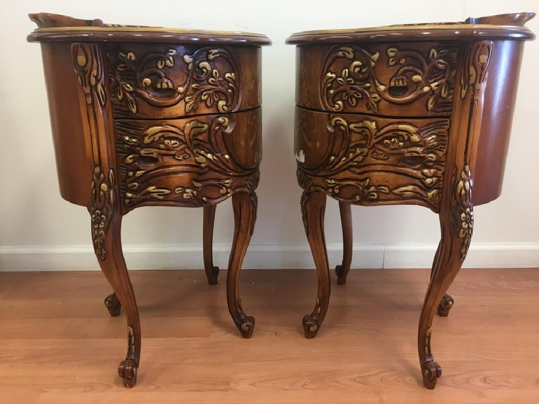 Pair of Parquetry Night Stands - 7