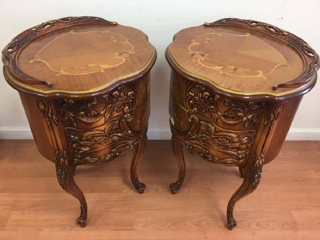 Pair of Parquetry Night Stands - 8
