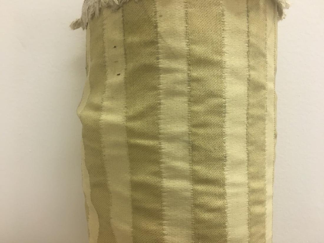 Poly Cotton Fabric, Beige Vertical Stripe Pattern - 2