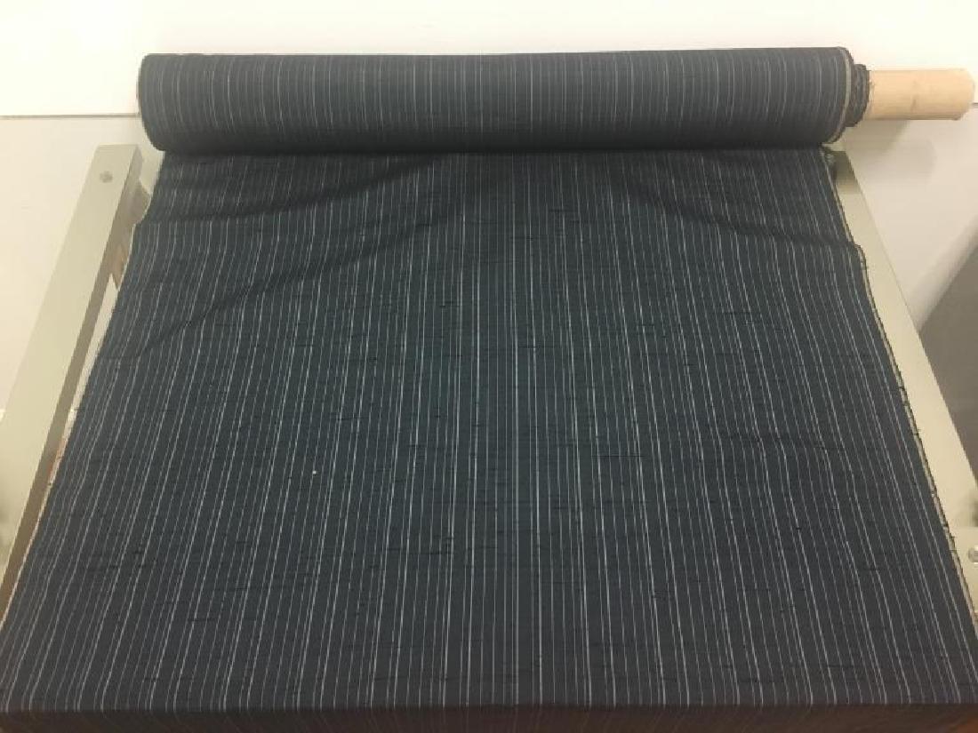 100% Silk Stripe Fabric. Dark Navy Color