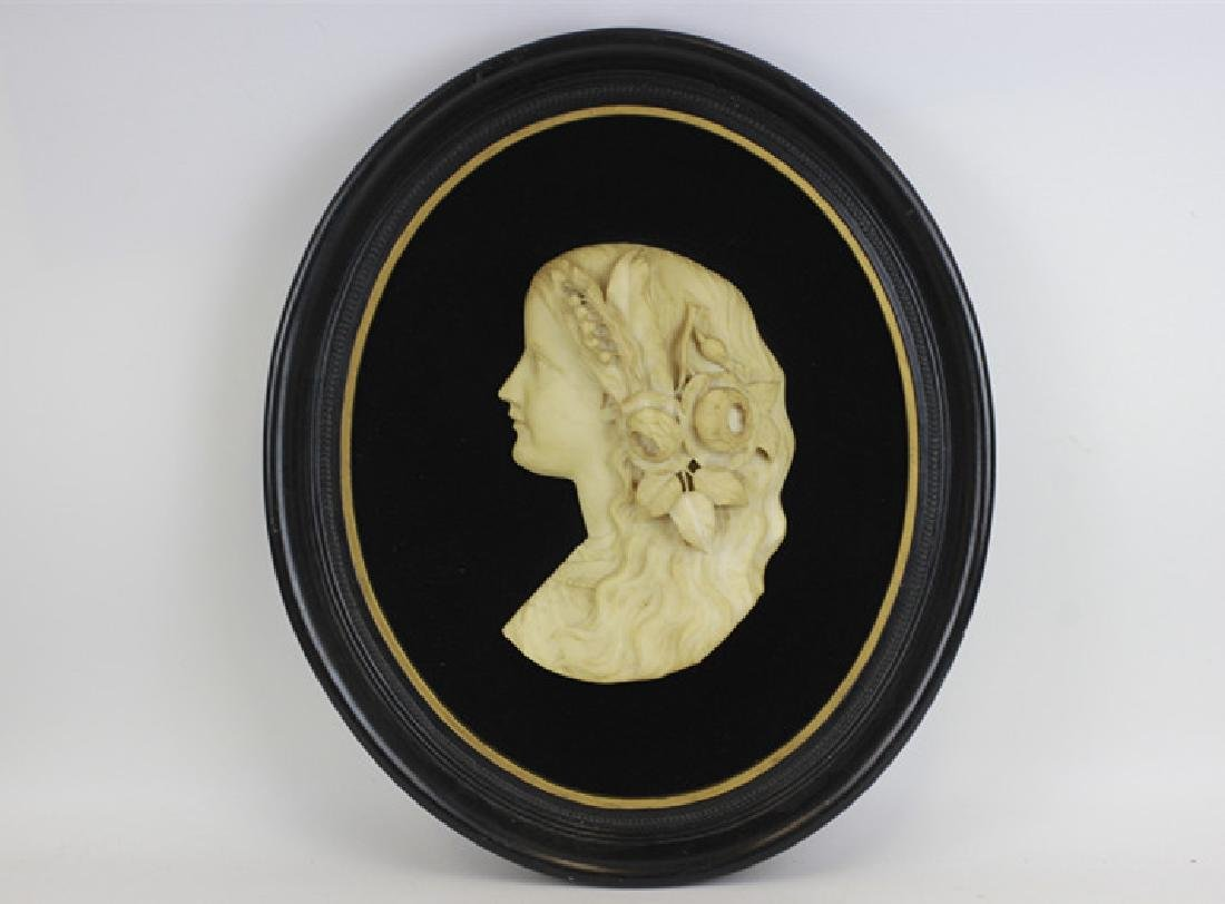 19thc Carved Marble Profile Bust of Young Girl