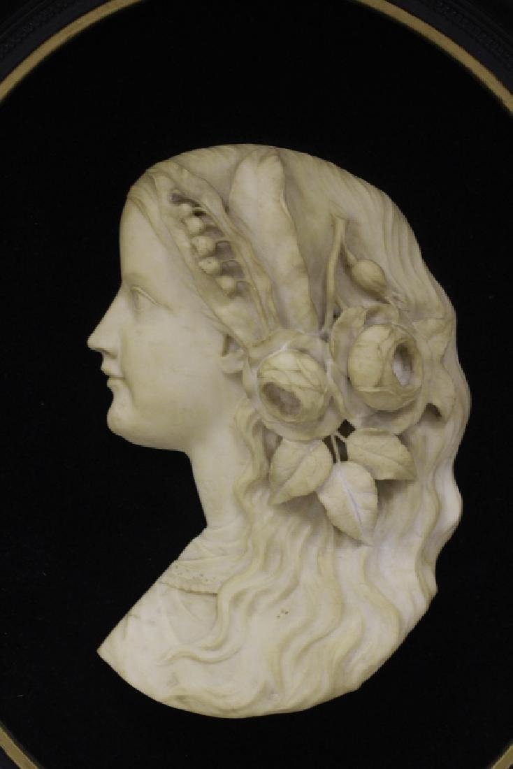 19thc Carved Marble Profile Bust of Young Girl - 2
