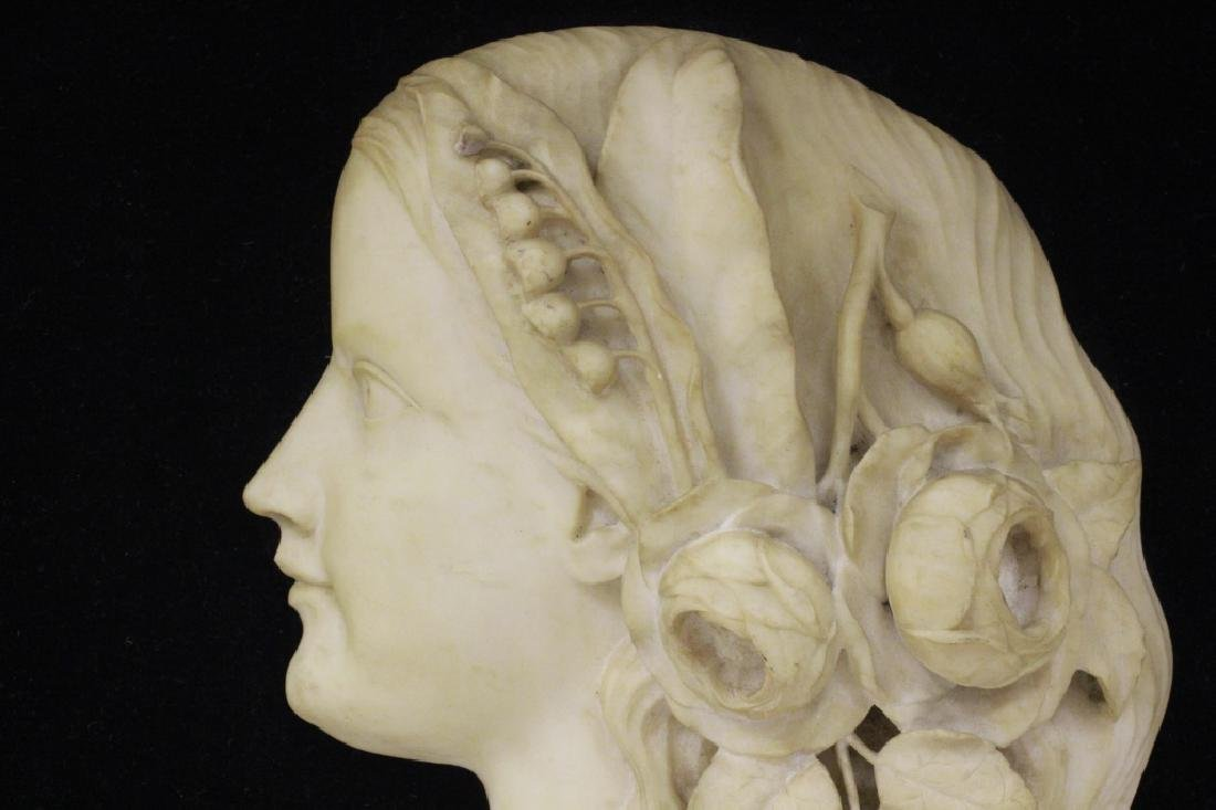 19thc Carved Marble Profile Bust of Young Girl - 3