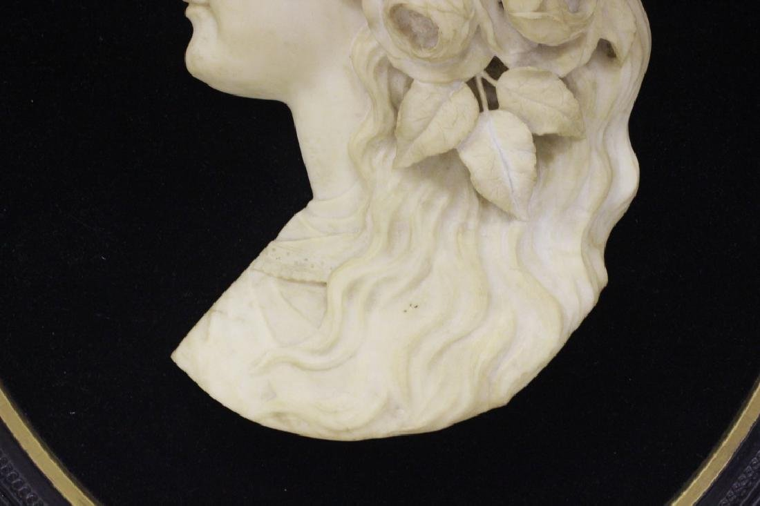 19thc Carved Marble Profile Bust of Young Girl - 4