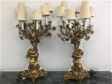 Pair of Large Bronze Candelabras w/ Cherubs