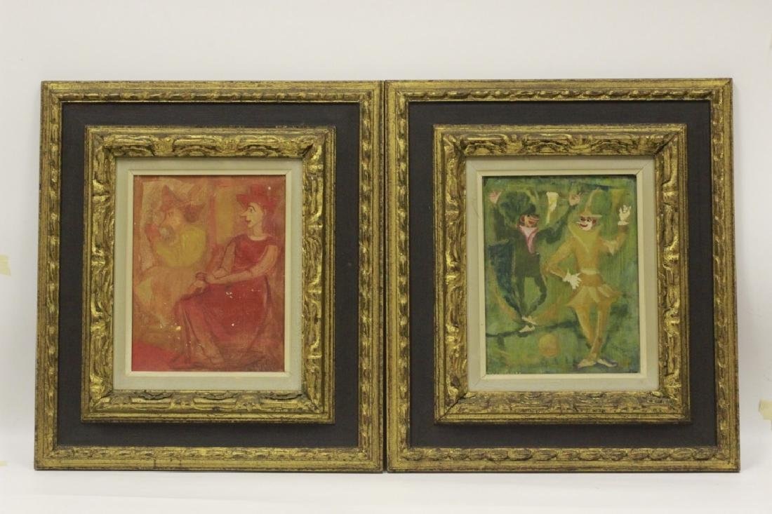 2 Oil on Canvas Paintings of Clowns, Signed Goya