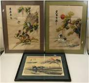 3pc Lot of 2 Embroideries  1 Etching