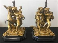 Pair of 19thC Bronze Figures Mounted as Lamps