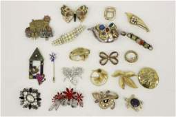 Group Lot of 20 Vintage Costume Jewelry Brooches