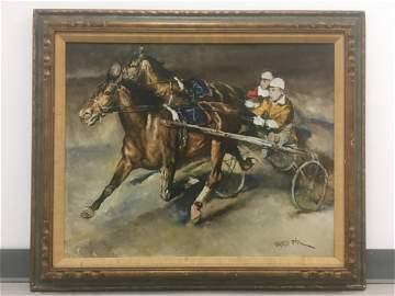 """Pal Fried, Hungarian (1893-1976) O/C. """"Sulky Race"""""""