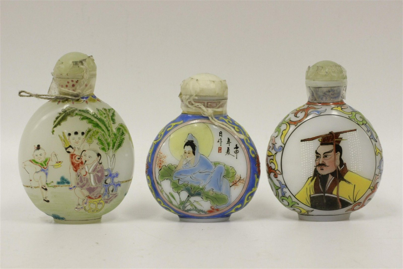 Chinese Lot of 3 Old Enameled Glass Snuff Bottles