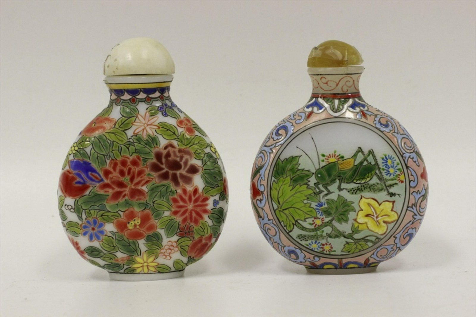 Chinese Lot of 2 Old Enameled Glass Snuff Bottles