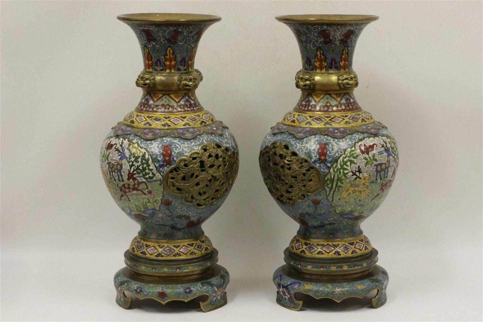 Pair Large Chinese Bronze Cloisonne Chapelve Vases