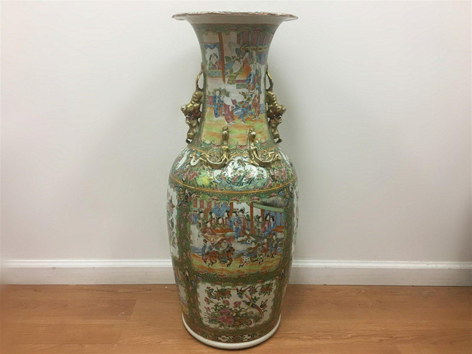 Monumental Chinese Porcelain Rose Medallion Vase