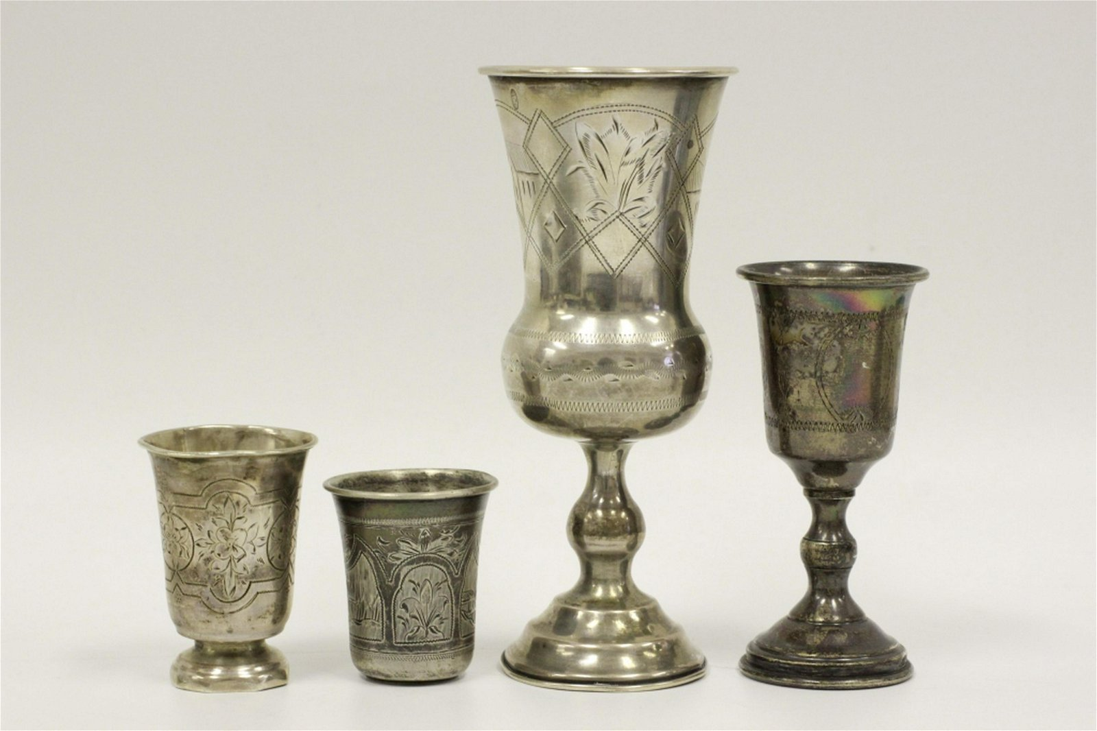 4 Judaica Silver Kiddush Cups. 3 Probably Russian