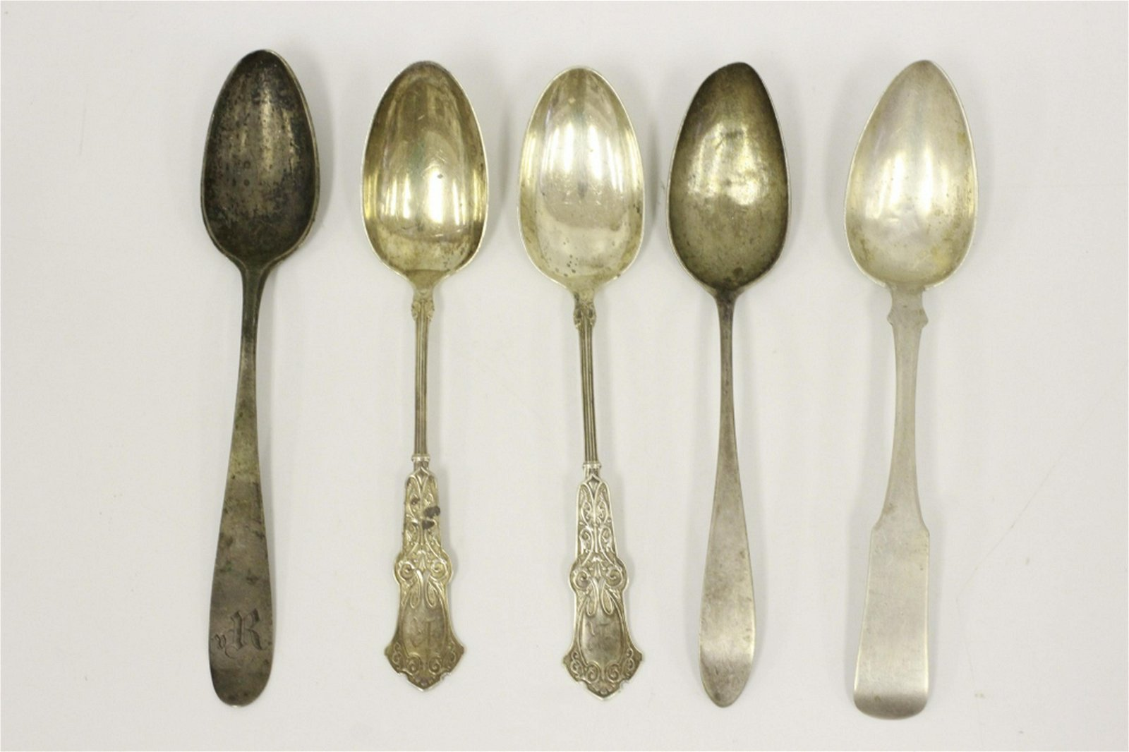 5 Russian & Continental Silver Serving Spoons