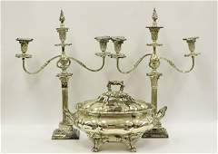 3pc Silver Plate Lot Including 2 Candelabras