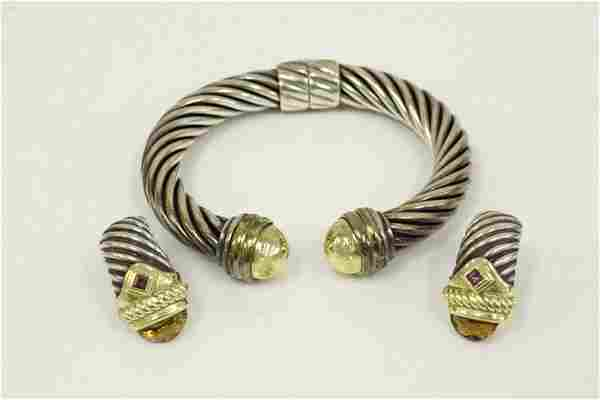 2pc Lot David Yurman Sterling Silver, Gold Jewelry