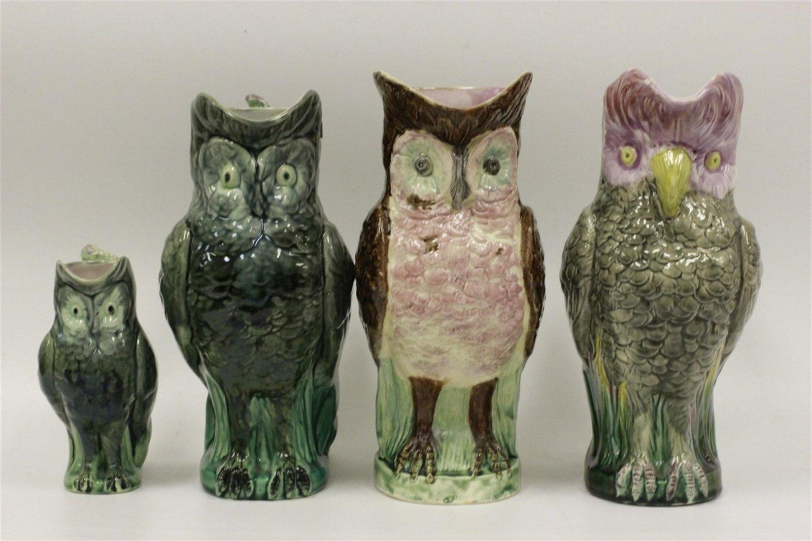 Lot of 4 Majolica Owl Pitchers