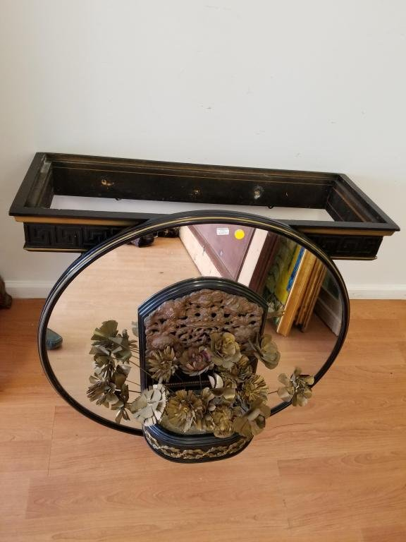 Vintage Marble Top Wood Foyer Table w/ Mirror