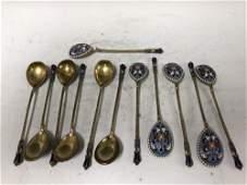 Russian 19thC  Silver & Enamel Set of 12 Spoons
