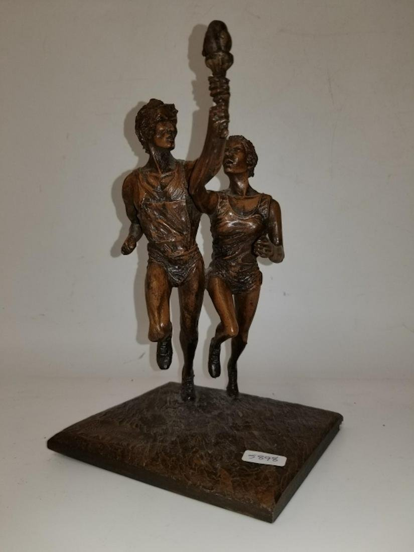 Bronze Clad Figure of 2 Athletes. Signed & Dated
