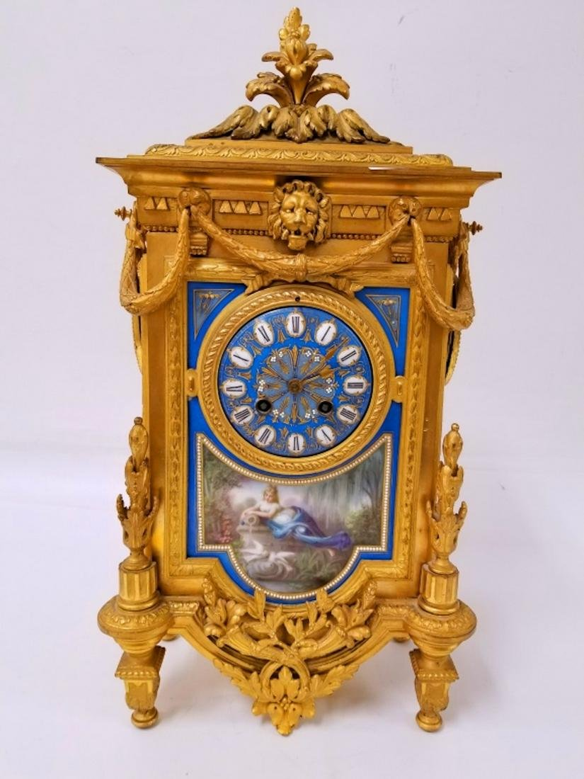19thC French Dore Bronze & Sevres Porcelain Clock