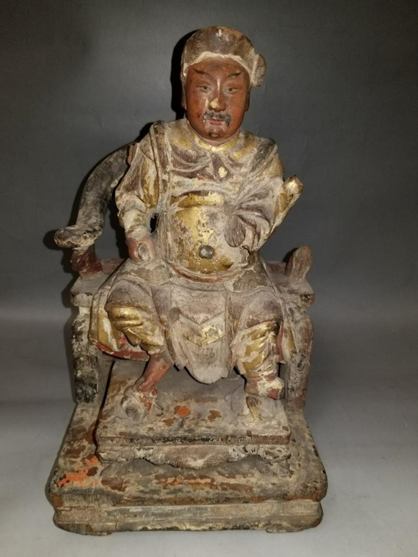 15thC or 16thC Chinese Carved Wood Figure.