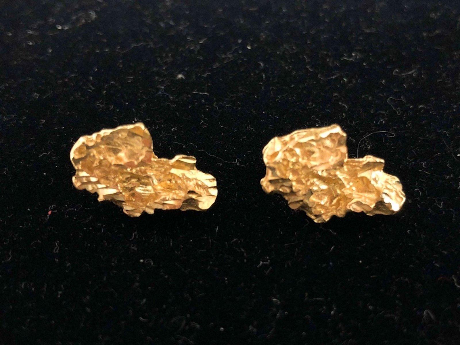 Pair of 14K Gold Nugget Earrings