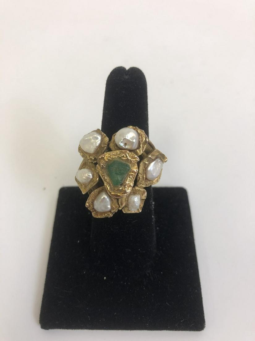 Unusual 14k Gold, Emerald & Pearl Ring